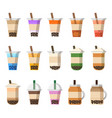 boba pearl milk tea or bubble tea vector image