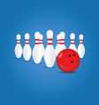 bowling ball in red color and skittle on blue vector image