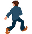 Cartoon man in blue jacket and blue pants walking vector image