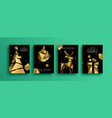 christmas new year gold 3d low poly party card set vector image