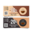 coffee discount coupon voucher with torn off part vector image vector image