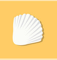cute white seashell isolated on yellow background vector image vector image