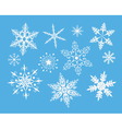 decorative snowflakes on blue vector image