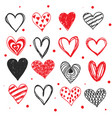 doodle love heart valentines day set vector image