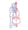 double bass musician orchestra instrument graphic vector image