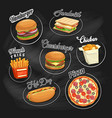 fast food icons black chalkboard background vector image
