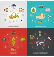 Ffinancial Crisis 4 Flat Icons Square vector image vector image