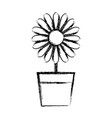 figure sunflower with petals inside to flowerpot vector image vector image