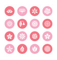 flowers flat glyph icons beautiful garden plants vector image vector image