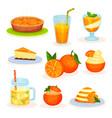 fresh fruit orange desserts freshly baked pie vector image