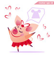 funny cartoon piggy girl is dreaming vector image