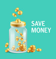 glass jar with cap moneybox icon bright gold vector image