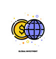 globe and dollar icon for global investment vector image vector image