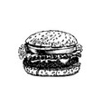 hand drawn of classic burger vector image