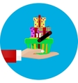hand giving a shopping basket vector image vector image