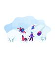 happy children having fun sledding on tubing and vector image vector image