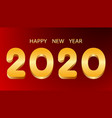happy new year golden numbers 2020 on red vector image vector image