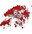 Hong Kong map on a brick wall vector image vector image