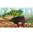 Iguana standing on the log vector image vector image