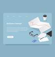 isometric business process landing page vector image vector image