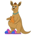 Kangaroo in slippers and baby vector image