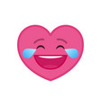 laughing tears heart shaped funny emoticon icon vector image