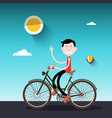 man on bike sunny day with boy on bicycle vector image vector image
