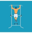 Man pull-up up on horizontal bar in gym vector image vector image