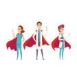 medical superheroes team doctors wear hero capes vector image vector image