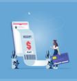 mobile payment concept-receipt statistics data vector image