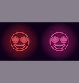 neon stylish emoji in red and pink color vector image