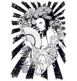 Pin up geisha vector image vector image