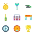 Race and awarding icons set cartoon style vector image vector image
