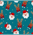 santa claus and reindeer seamless on blue vector image vector image