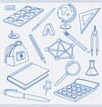 school doodle set of office stationery tools vector image vector image