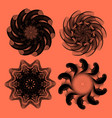 set four abstract monocolor vortex or rosettes vector image