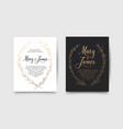 set of wedding invitations with hand drawn laurel vector image vector image