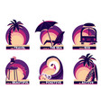 set summer and travel badges with quotes vector image vector image