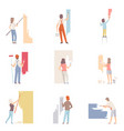 set with people painting the wall flat vector image