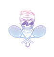 sketch skull with tennis racquet vector image