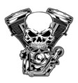 skull engine chrome motorcycle eps vector image vector image