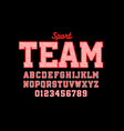 sport style embroidered font vector image