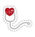 stethoscope pulse heart diagnosis cut line vector image