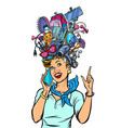 stewardess woman dreams about gadgets vector image vector image