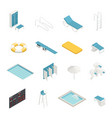 swimming pool isometric elements set vector image vector image