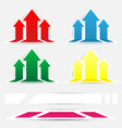vertical arrow up color sticker with shadow vector image