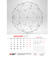 wall calendar template for january 2019 with vector image vector image