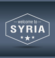welcome to syria hexagonal white vintage label vector image vector image