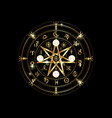 wiccan symbol of protection gold mandala runes vector image vector image