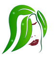 woman green leaf hair abstract hair salon icon vector image vector image